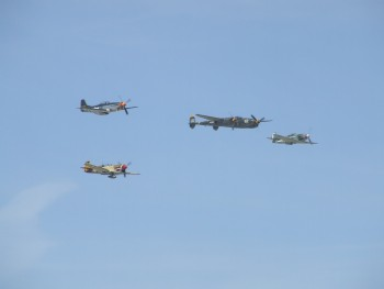 This formation was a pretty jaw dropping one. A P-51, P-38, P-40 and a Yak-3.