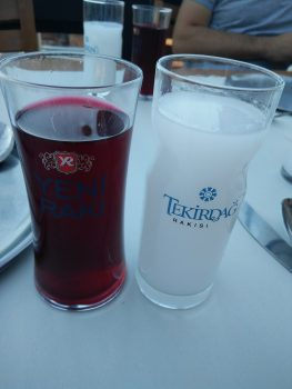 Best raki, served with beet juice.  Marvellous.