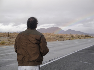 Rand and Rainbow in Mojave Desert