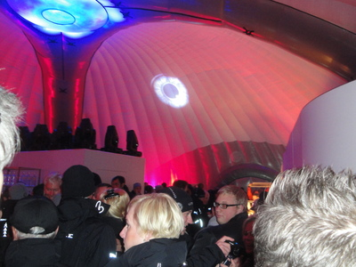 Balloon tent interior with red lights