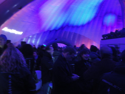 Balloon tent interior with blue lights